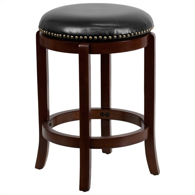 Flash Furniture Backless Bar Stool with Black Seat in Cherry