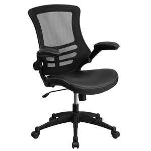 Mid-Back Mesh Leather Office Chair in Black