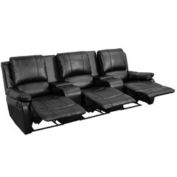 3 Seat Leather Reclining Home Theater Seating in Black