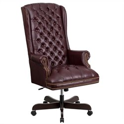 Traditional Upholstered Executive Office Chair in Burgundy