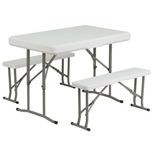 Plastic Folding Table and Benches in White