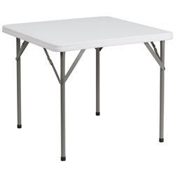 Square Granite Folding Table in White