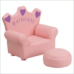 Flash Furniture Kids Princess Chair in Pink with Footrest