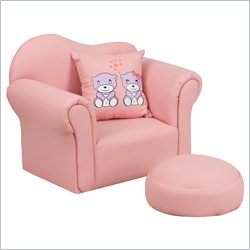 Flash Furniture Kids Vinyl Upholstered Chair in Pink with Footrest