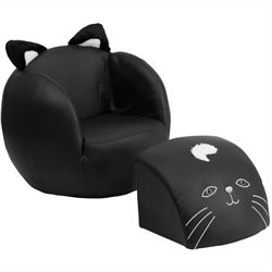 Kids Cat Chair in Black with Footrest