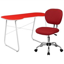 Computer Desk and Swivel Chair in Red