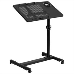 Flash Furniture Adjustable Mobile Laptop Cart in Black