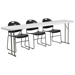 Flash Furniture Folding Training Table and 3 Stacking Chairs in Black and White