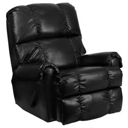 Leather Rocker Recliner in Black