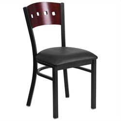 Flash Furniture Hercules Series Upholstered Restaurant Dining Chair in Mahogany and Black