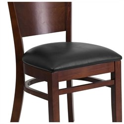 Flash Furniture Lacey Series Upholstered Restaurant Dining Chair in Walnut and Black