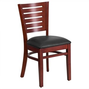 Upholstered Restaurant Dining Chair in Mahogany and Black