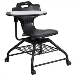Flash Furniture Mobile Classroom Chair in Black with Bottom Tray