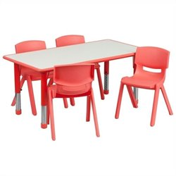 Plastic Activity Table Set with 4 School Stacking Chairs in Red