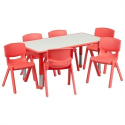 Plastic Activity Table Set with 6 School Stacking Chairs in Red