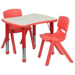 Curved Rectangular Plastic Activity Table Set with 2 School Stack Chairs in Red
