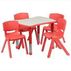 Curved Rectangular Plastic Activity Table Set with 4 School Stack Chairs in Red