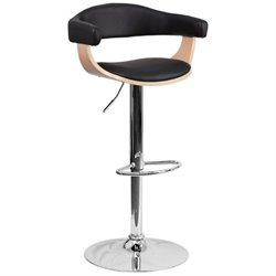 Flash Furniture Beech Bentwood Adjustable Contemporary Bar Stool