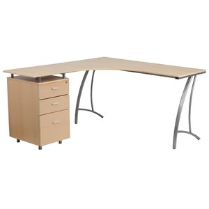 3 Drawer L-Shaped Home Office Desk in Beechwood