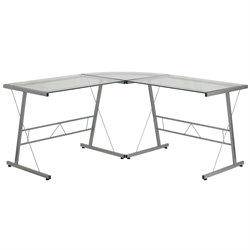 L-Shape Glass Computer Desk in Silver