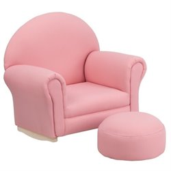 Flash Furniture Kids Fabric Rocker Chair and Footrest in Pink