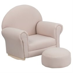 Flash Furniture Kids Beige Fabric Rocker Chair and Footrest