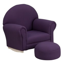 Flash Furniture Kids Rocker Chair and Footrest in Purple