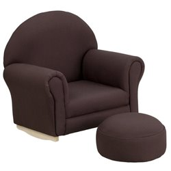 Flash Furniture Kids Brown Fabric Rocker Chair and Footrest