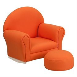 Flash Furniture Kids Fabric Rocker Chair and Footrest in Orange