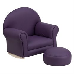 Flash Furniture Kids Purple Vinyl Rocker Chair and Footrest