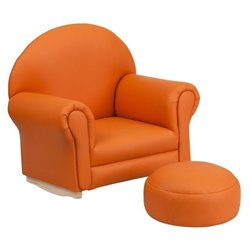 Flash Furniture Kids Orange Vinyl Rocker Chair and Footrest