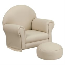 Flash Furniture Kids Beige Vinyl Rocker Chair and Footrest