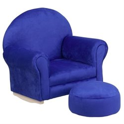 Flash Furniture Kids Blue Microfiber Rocker Chair and Footrest
