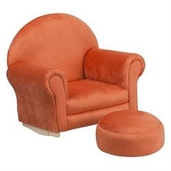 Flash Furniture Kids Orange Microfiber Rocker Chair and Footrest