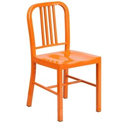 Flash Furniture Metal Dining Chair in Orange