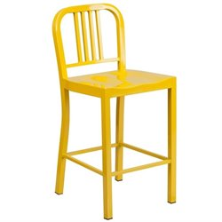 Flash Furniture Metal 24'' Counter Stool in Yellow