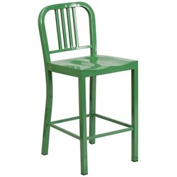 Metal 24'' Counter Stool in Green