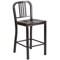 Flash Furniture Metal 24'' Counter Stool in Black-Antique Gold