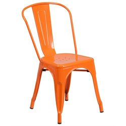 Flash Furniture Metal Stackable Dining Chair in Orange