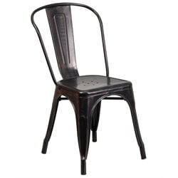 Metal Stackable Dining Chair in Black-Antique Gold