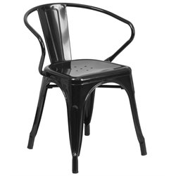 Flash Furniture Metal Dining Arm Chair in Black