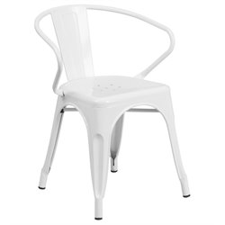 Flash Furniture Metal Dining Arm Chair in White