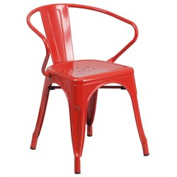 Flash Furniture Metal Dining Arm Chair in Red