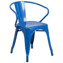 Metal Dining Arm Chair in Blue