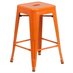 Flash Furniture Metal 24'' Backless Counter Stool in Orange