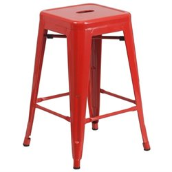 Flash Furniture Metal 24'' Backless Counter Stool in Red