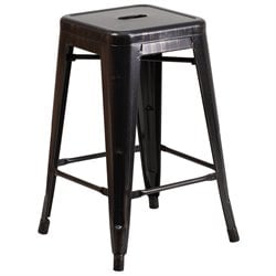 Metal 24'' Backless Counter Stool in Black and Gold
