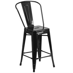 Flash Furniture Metal 24'' Counter Stool in Black