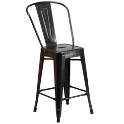 Metal 24'' Counter Stool in Black-Antique Gold