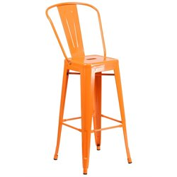 Metal 30'' Bar Stool in Orange